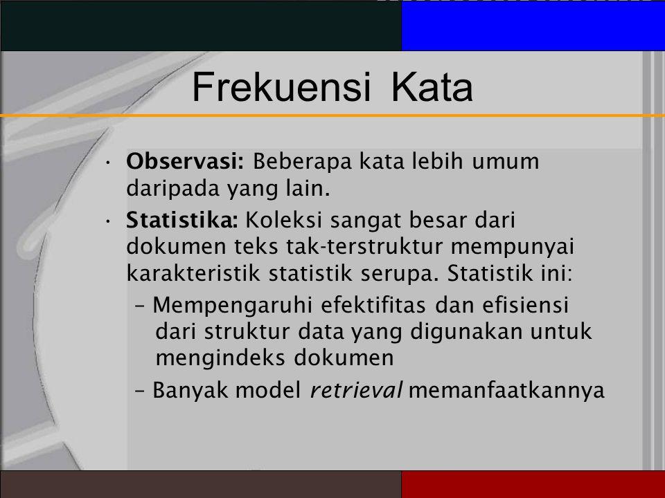 FrekuensiKata Observasi: Beberapa kata lebih umum daripada yang lain.