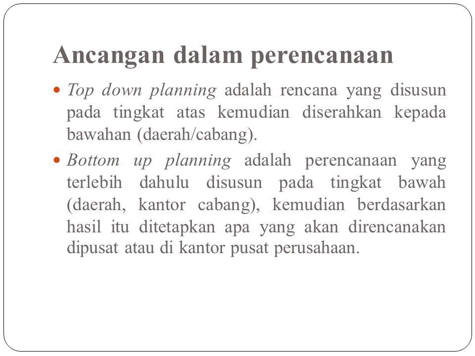 Ancangan dalam perencanaan Top down planning adalah rencana yang disusun pada tingkat atas kemudian diserahkan kepada bawahan (daerah/cabang). Bottom