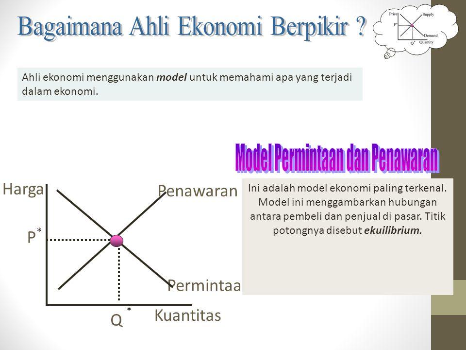 Ahli ekonomi menggunakan model untuk memahami apa yang terjadi dalam ekonomi. Harga Permintaan Q * P Penawaran Kuantitas * Ini adalah model ekonomi pa