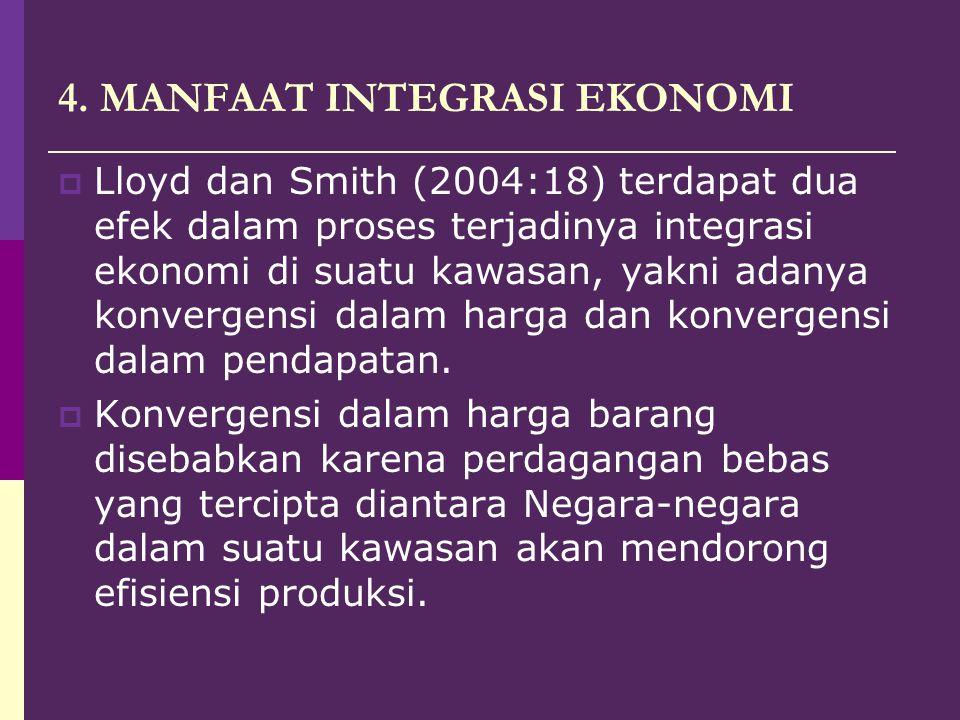 4. MANFAAT INTEGRASI EKONOMI  Lloyd dan Smith (2004:18) terdapat dua efek dalam proses terjadinya integrasi ekonomi di suatu kawasan, yakni adanya ko