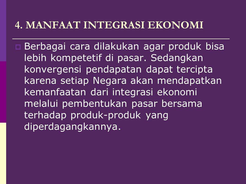 4.MANFAAT INTEGRASI EKONOMI  Berbagai cara dilakukan agar produk bisa lebih kompetetif di pasar.