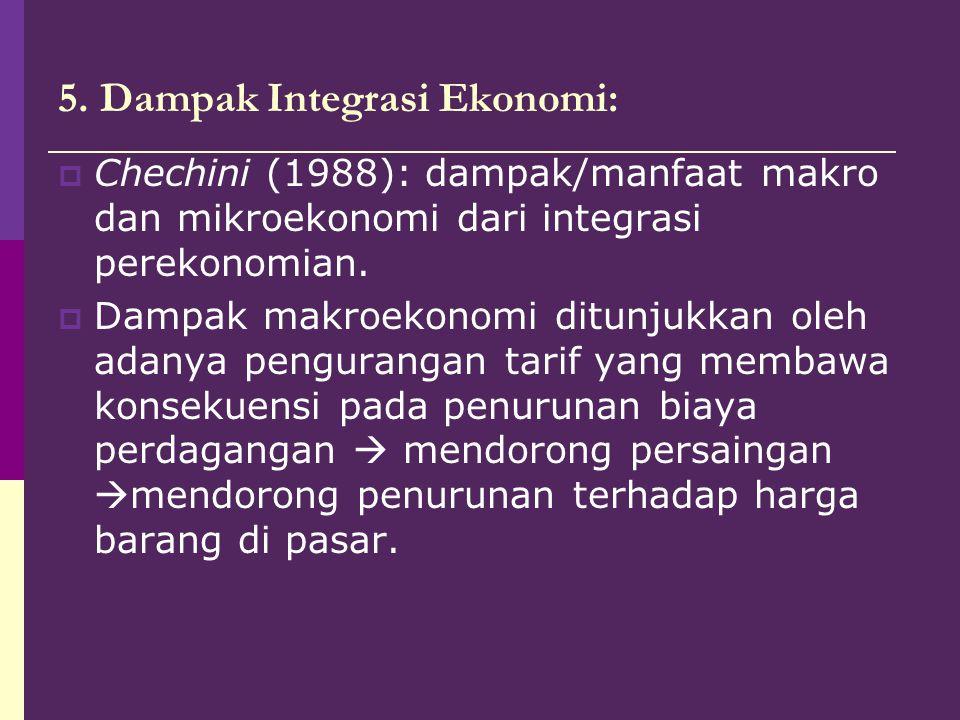 5. Dampak Integrasi Ekonomi:  Chechini (1988): dampak/manfaat makro dan mikroekonomi dari integrasi perekonomian.  Dampak makroekonomi ditunjukkan o
