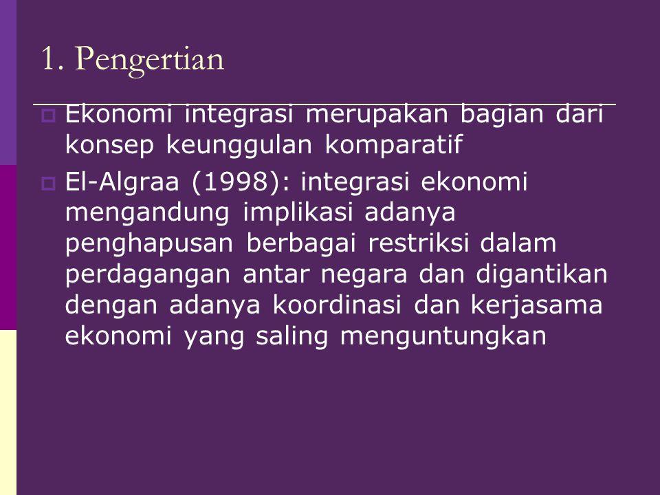 1. Pengertian  Ekonomi integrasi merupakan bagian dari konsep keunggulan komparatif  El-Algraa (1998): integrasi ekonomi mengandung implikasi adanya