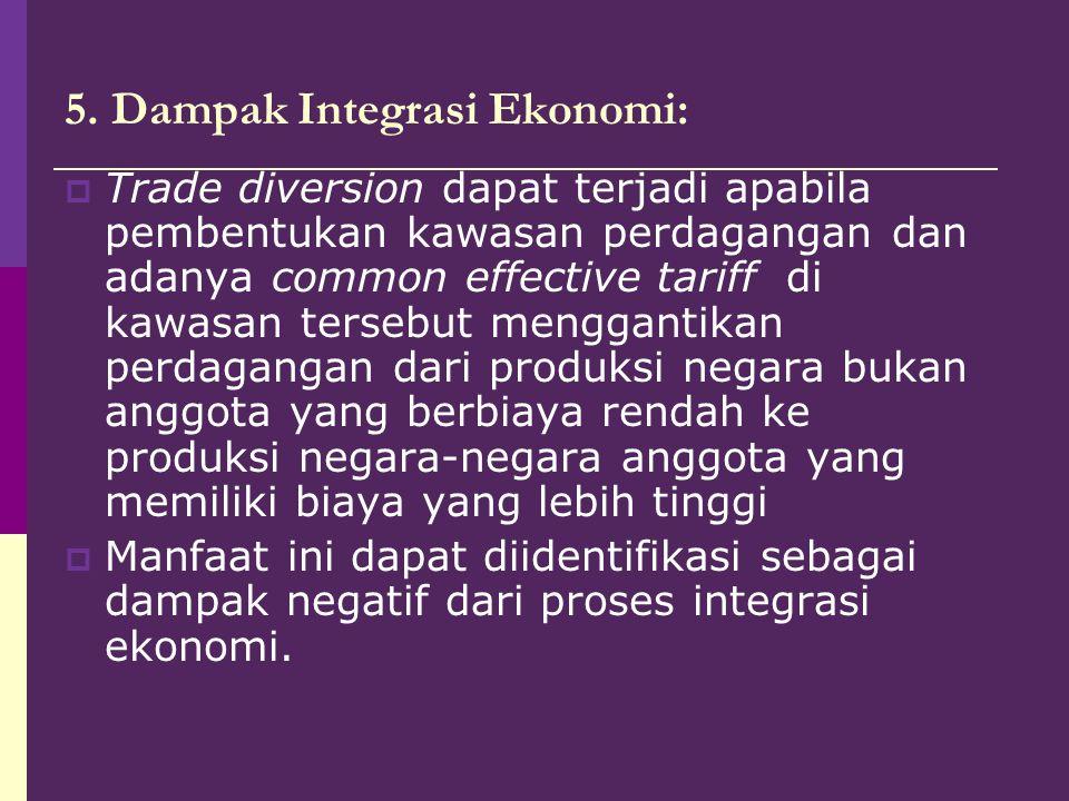 5. Dampak Integrasi Ekonomi:  Trade diversion dapat terjadi apabila pembentukan kawasan perdagangan dan adanya common effective tariff di kawasan ter
