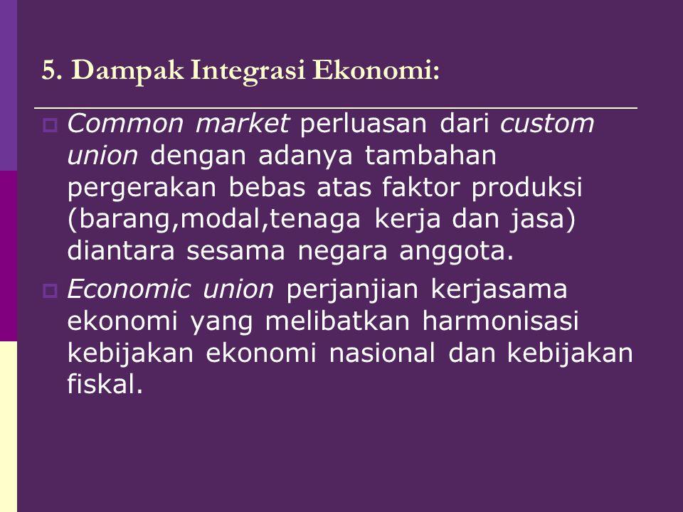 5. Dampak Integrasi Ekonomi:  Common market perluasan dari custom union dengan adanya tambahan pergerakan bebas atas faktor produksi (barang,modal,te