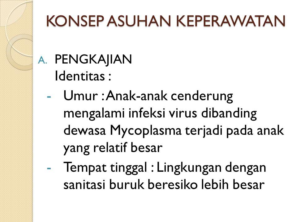 KONSEP ASUHAN KEPERAWATAN A. PENGKAJIAN Identitas : -Umur : Anak-anak cenderung mengalami infeksi virus dibanding dewasa Mycoplasma terjadi pada anak