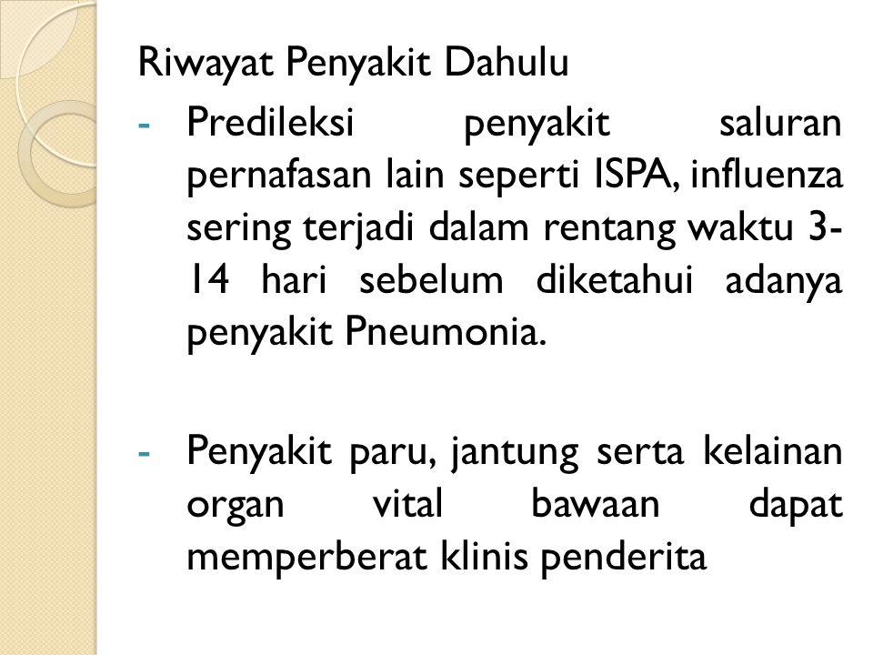 Riwayat Penyakit Dahulu -Predileksi penyakit saluran pernafasan lain seperti ISPA, influenza sering terjadi dalam rentang waktu 3- 14 hari sebelum dik