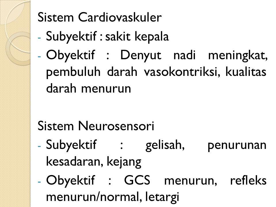Sistem Cardiovaskuler - Subyektif : sakit kepala - Obyektif : Denyut nadi meningkat, pembuluh darah vasokontriksi, kualitas darah menurun Sistem Neuro