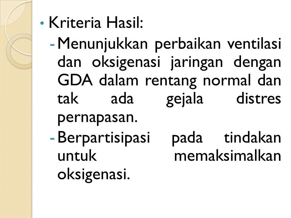 Kriteria Hasil: -Menunjukkan perbaikan ventilasi dan oksigenasi jaringan dengan GDA dalam rentang normal dan tak ada gejala distres pernapasan. -Berpa