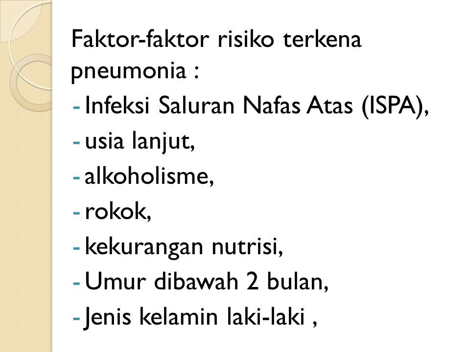 Faktor-faktor risiko terkena pneumonia : -Infeksi Saluran Nafas Atas (ISPA), -usia lanjut, -alkoholisme, -rokok, -kekurangan nutrisi, -Umur dibawah 2