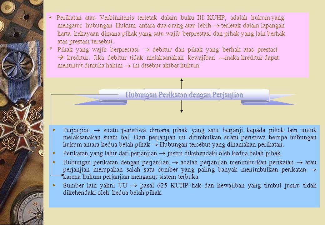 Perikatan atau Verbinntenis terletak dalam buku III KUHP, adalah hukum yang mengatur hubungan Hukum antara dua orang atau lebih  terletak dalam lapan