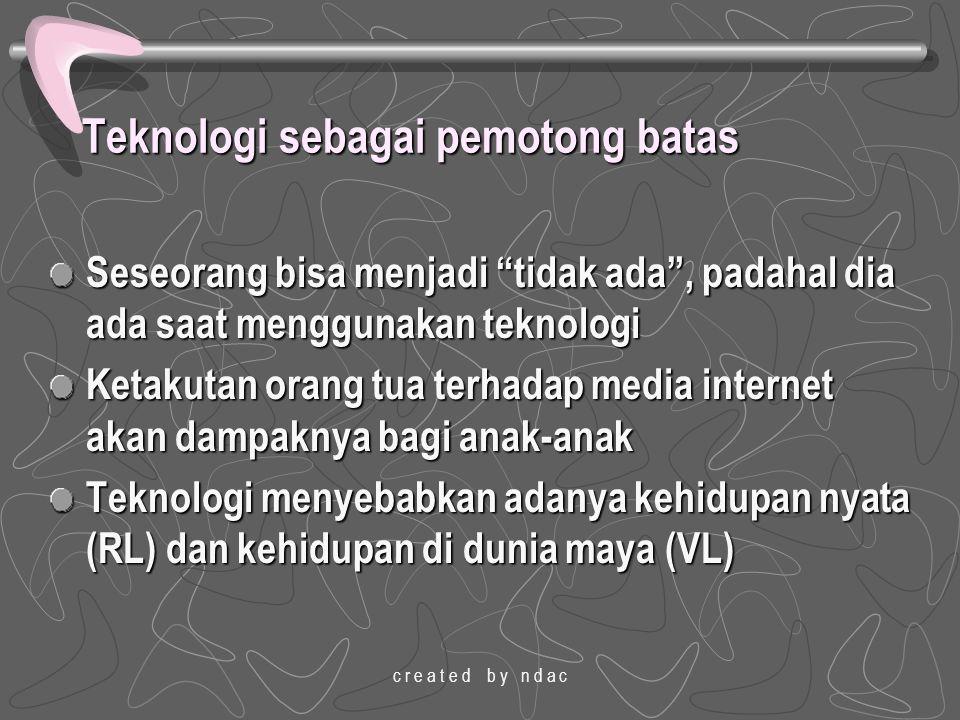 """c r e a t e d b y n d a c Teknologi sebagai pemotong batas Seseorang bisa menjadi """"tidak ada"""", padahal dia ada saat menggunakan teknologi Ketakutan or"""
