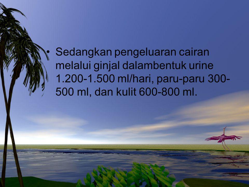 Sedangkan pengeluaran cairan melalui ginjal dalambentuk urine 1.200-1.500 ml/hari, paru-paru 300- 500 ml, dan kulit 600-800 ml.