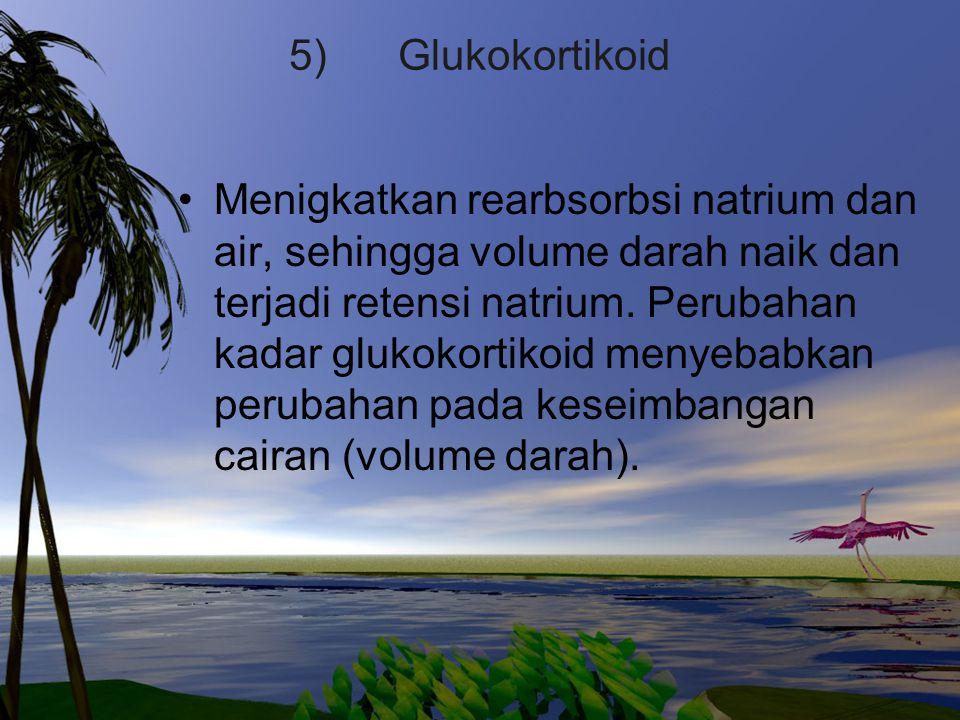5) Glukokortikoid Menigkatkan rearbsorbsi natrium dan air, sehingga volume darah naik dan terjadi retensi natrium. Perubahan kadar glukokortikoid meny
