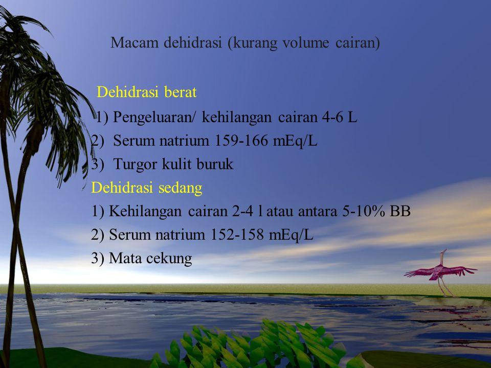 Macam dehidrasi (kurang volume cairan) Dehidrasi berat 1) Pengeluaran/ kehilangan cairan 4-6 L 2) Serum natrium 159-166 mEq/L 3) Turgor kulit buruk De