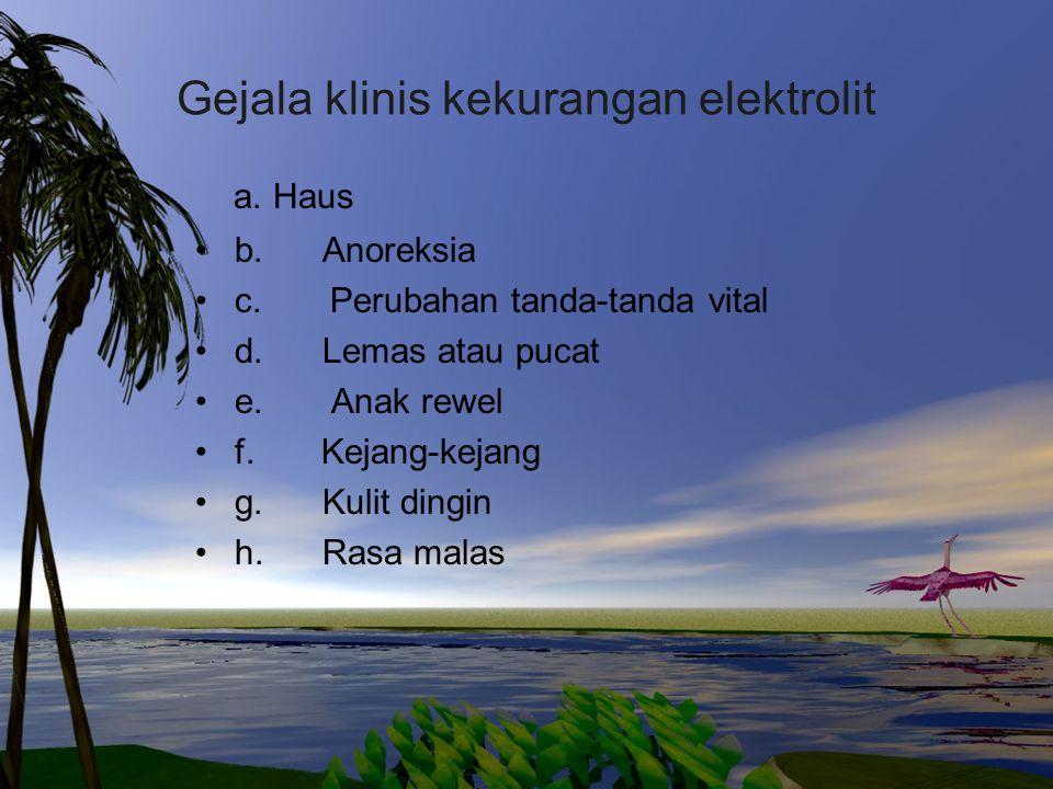Gejala klinis kekurangan elektrolit a. Haus b. Anoreksia c. Perubahan tanda-tanda vital d. Lemas atau pucat e. Anak rewel f. Kejang-kejang g. Kulit di