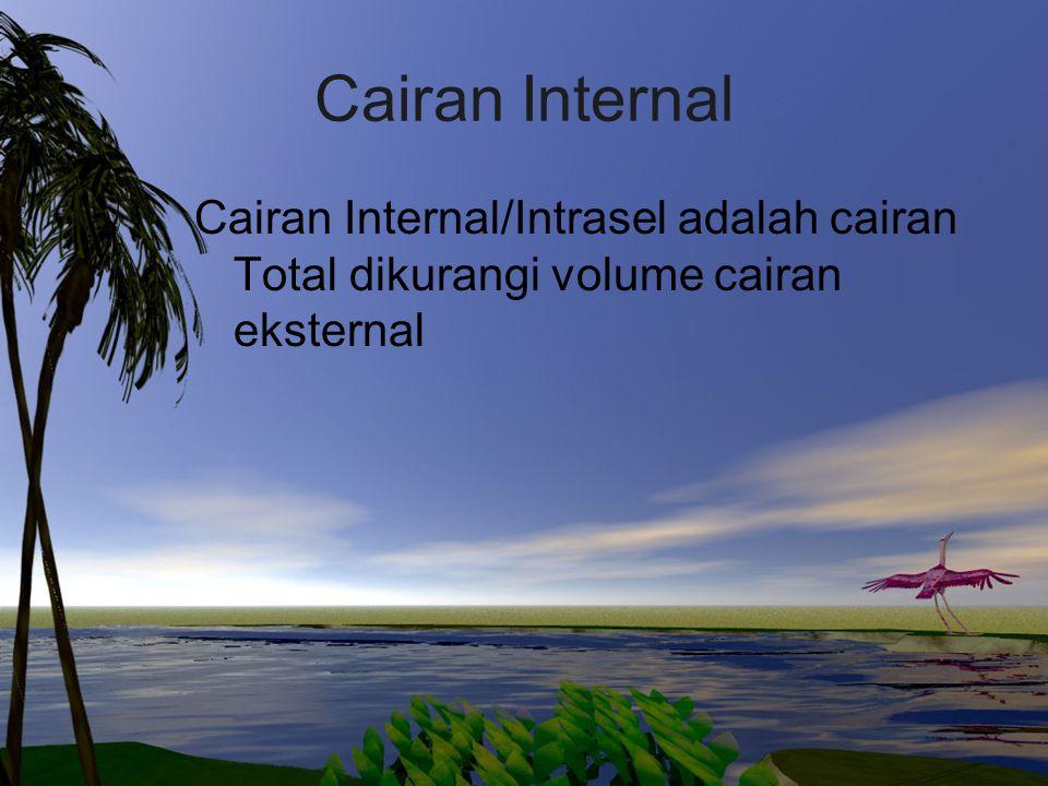 Cairan Internal Cairan Internal/Intrasel adalah cairan Total dikurangi volume cairan eksternal
