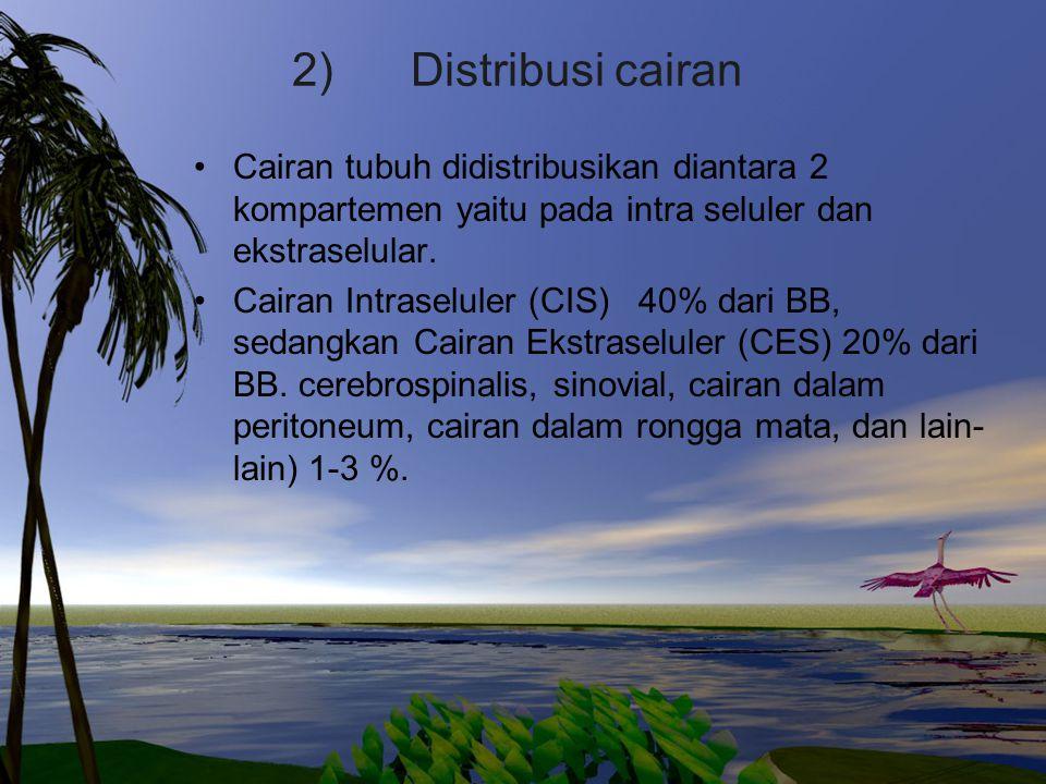 2) Distribusi cairan Cairan tubuh didistribusikan diantara 2 kompartemen yaitu pada intra seluler dan ekstraselular. Cairan Intraseluler (CIS) 40% dar