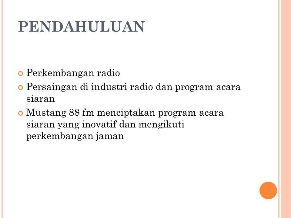 PENDAHULUAN Perkembangan radio Persaingan di industri radio dan program acara siaran Mustang 88 fm menciptakan program acara siaran yang inovatif dan