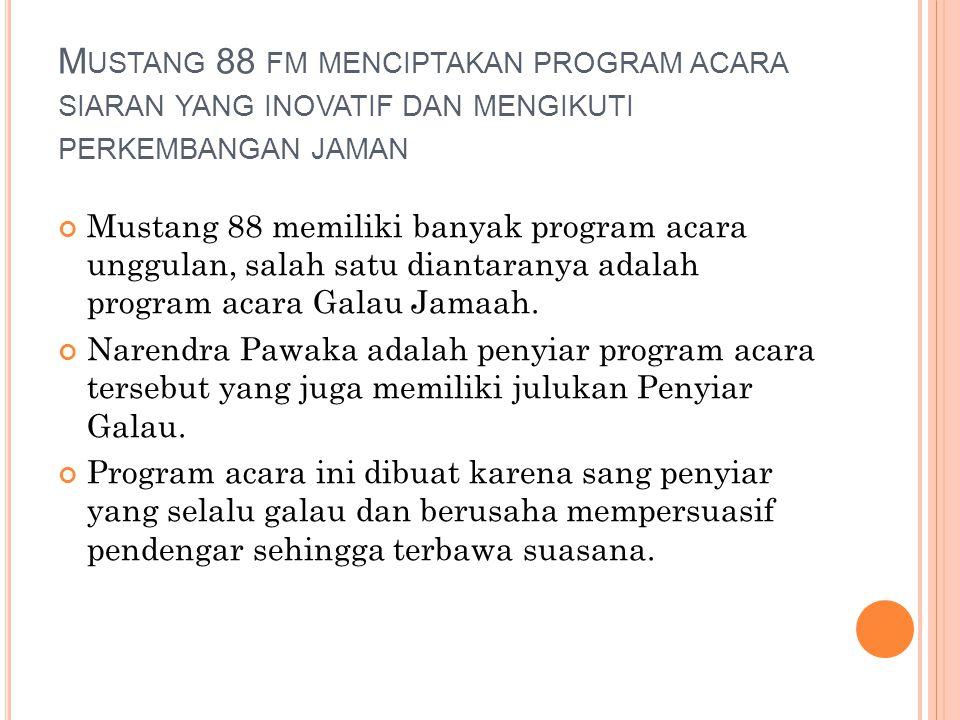 Galau Jamaah di Radio Mustang 88 Fm SasaranRemaja dan Mahasiswa dan Profesional muda
