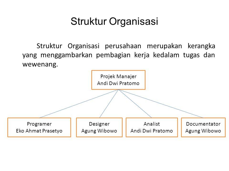 Struktur Organisasi Struktur Organisasi perusahaan merupakan kerangka yang menggambarkan pembagian kerja kedalam tugas dan wewenang. Projek Manajer An