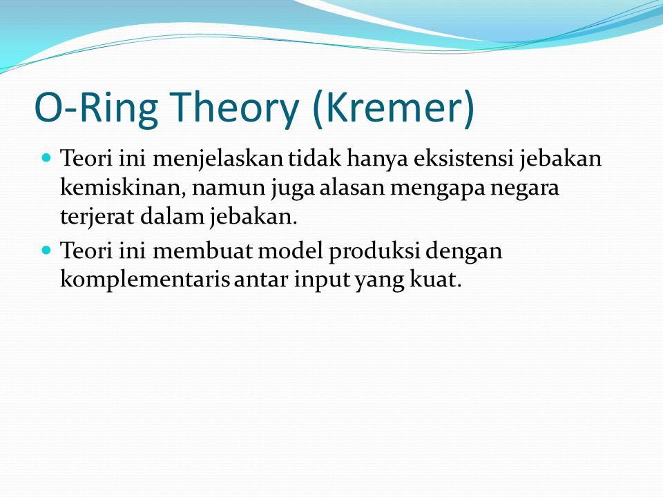 O-Ring Theory (Kremer) Teori ini menjelaskan tidak hanya eksistensi jebakan kemiskinan, namun juga alasan mengapa negara terjerat dalam jebakan. Teori