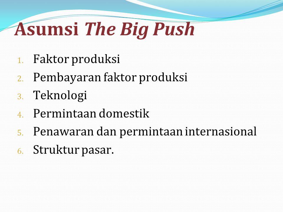 Asumsi The Big Push 1. Faktor produksi 2. Pembayaran faktor produksi 3. Teknologi 4. Permintaan domestik 5. Penawaran dan permintaan internasional 6.