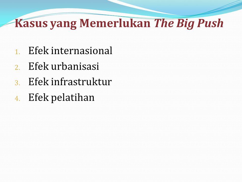 Kasus yang Memerlukan The Big Push 1. Efek internasional 2. Efek urbanisasi 3. Efek infrastruktur 4. Efek pelatihan