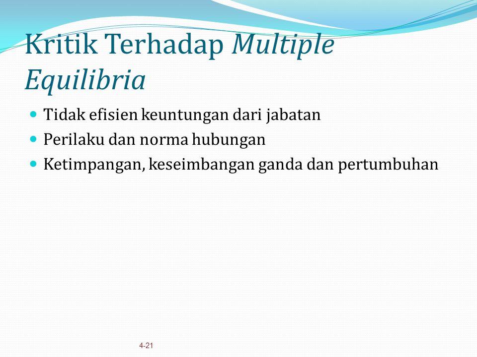 4-21 Kritik Terhadap Multiple Equilibria Tidak efisien keuntungan dari jabatan Perilaku dan norma hubungan Ketimpangan, keseimbangan ganda dan pertumb