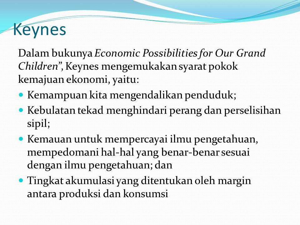 """Keynes Dalam bukunya Economic Possibilities for Our Grand Children"""", Keynes mengemukakan syarat pokok kemajuan ekonomi, yaitu: Kemampuan kita mengenda"""