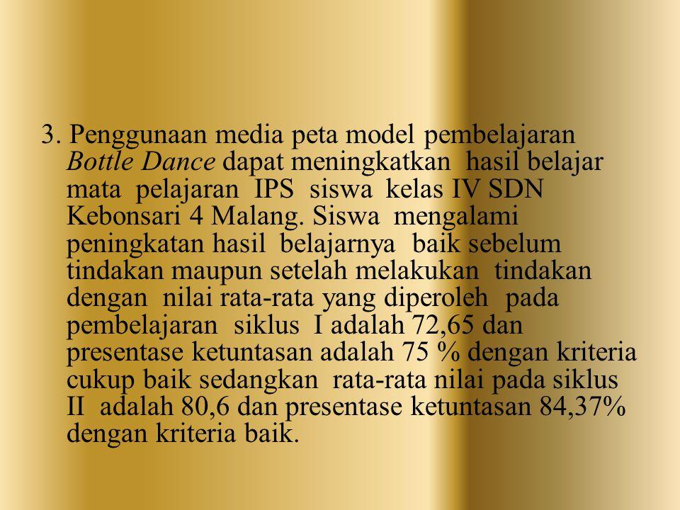 3. Penggunaan media peta model pembelajaran Bottle Dance dapat meningkatkan hasil belajar mata pelajaran IPS siswa kelas IV SDN Kebonsari 4 Malang. Si