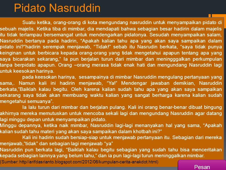 Pidato Nasruddin Suatu ketika, orang-orang di kota mengundang nasruddin untuk menyampaikan pidato di sebuah majelis.