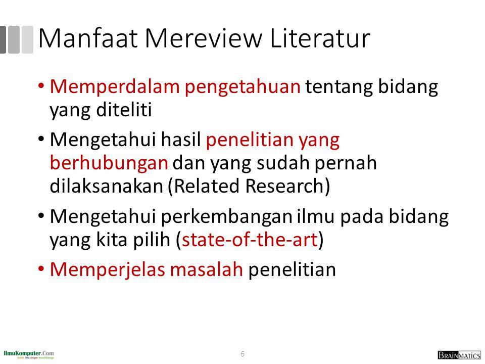 Manfaat Mereview Literatur Memperdalam pengetahuan tentang bidang yang diteliti Mengetahui hasil penelitian yang berhubungan dan yang sudah pernah dil