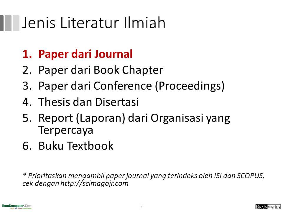 Jenis Literatur Ilmiah 1.Paper dari Journal 2.Paper dari Book Chapter 3.Paper dari Conference (Proceedings) 4.Thesis dan Disertasi 5.Report (Laporan)