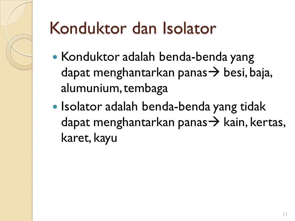 Konduktor dan Isolator Konduktor adalah benda-benda yang dapat menghantarkan panas  besi, baja, alumunium, tembaga Isolator adalah benda-benda yang t