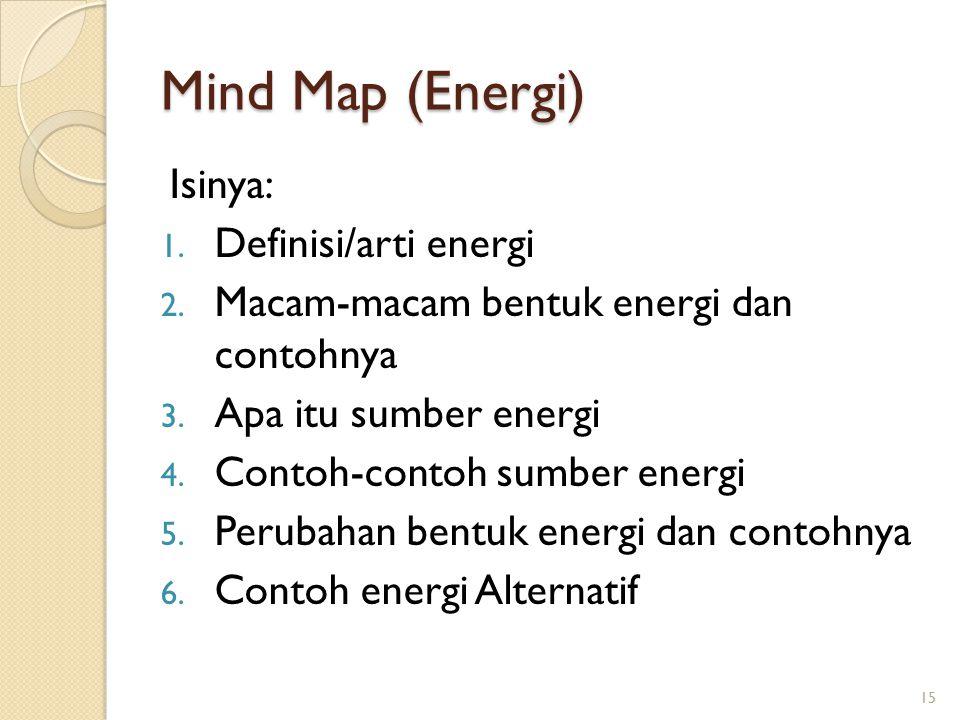 Mind Map (Energi) Isinya: 1. Definisi/arti energi 2. Macam-macam bentuk energi dan contohnya 3. Apa itu sumber energi 4. Contoh-contoh sumber energi 5