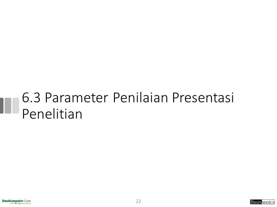 6.3 Parameter Penilaian Presentasi Penelitian 22