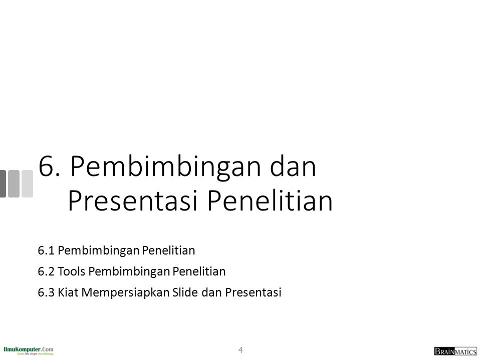 Penilaian Presentasi Penelitian (Berndtsson, 2008) 3.Defence 1.Degree of insight apparent from the arguments presented to support claims and conclusions 2.Degree of insight apparent from discussion in response to relevant questions 4.Other 1.How the students performed as opponent 2.Fulfillment of deadlines and other formal requirements 25