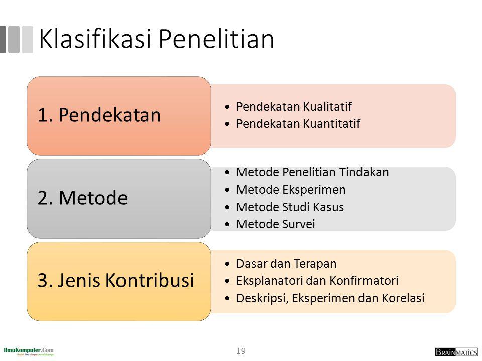 Klasifikasi Penelitian 19 Pendekatan KualitatifPendekatan Kualitatif Pendekatan KuantitatifPendekatan Kuantitatif 1.