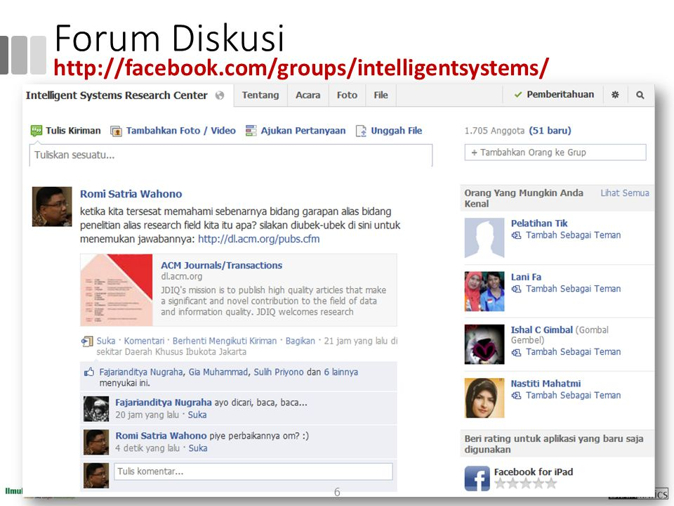 Forum Diskusi 6 http://facebook.com/groups/intelligentsystems/