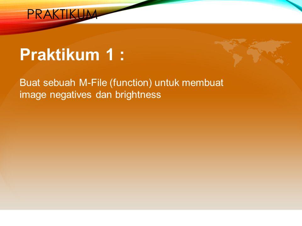 PRAKTIKUM Praktikum 1 : Buat sebuah M-File (function) untuk membuat image negatives dan brightness