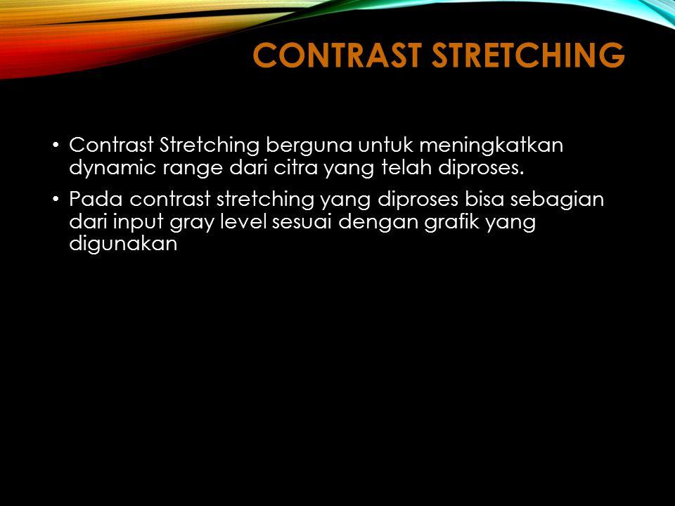 CONTRAST STRETCHING Contrast Stretching berguna untuk meningkatkan dynamic range dari citra yang telah diproses.