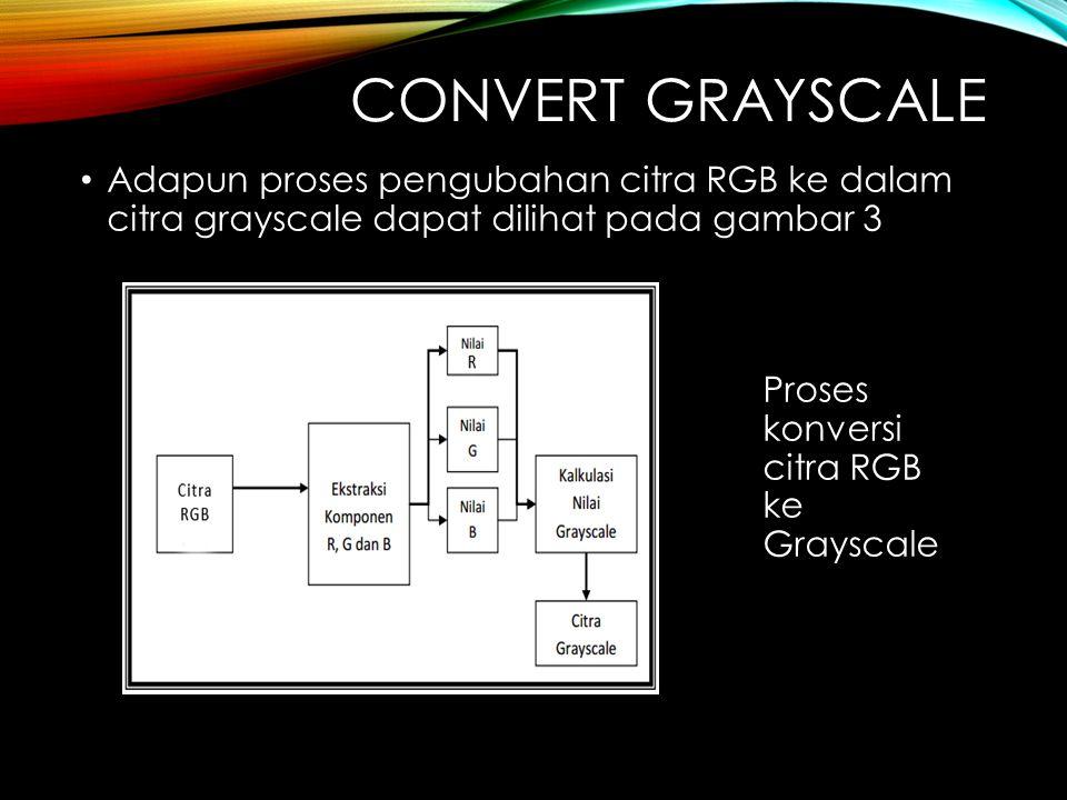 CONVERT GRAYSCALE Adapun proses pengubahan citra RGB ke dalam citra grayscale dapat dilihat pada gambar 3 Proses konversi citra RGB ke Grayscale