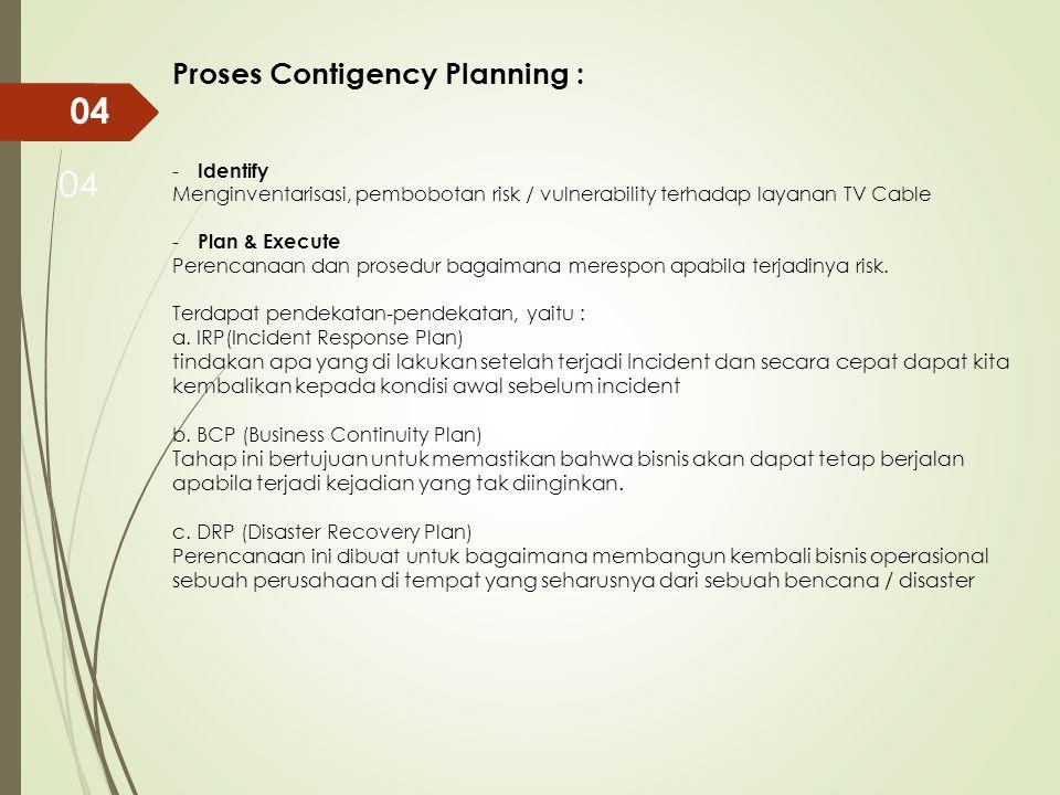04 - Identify Menginventarisasi, pembobotan risk / vulnerability terhadap layanan TV Cable - Plan & Execute Perencanaan dan prosedur bagaimana merespo