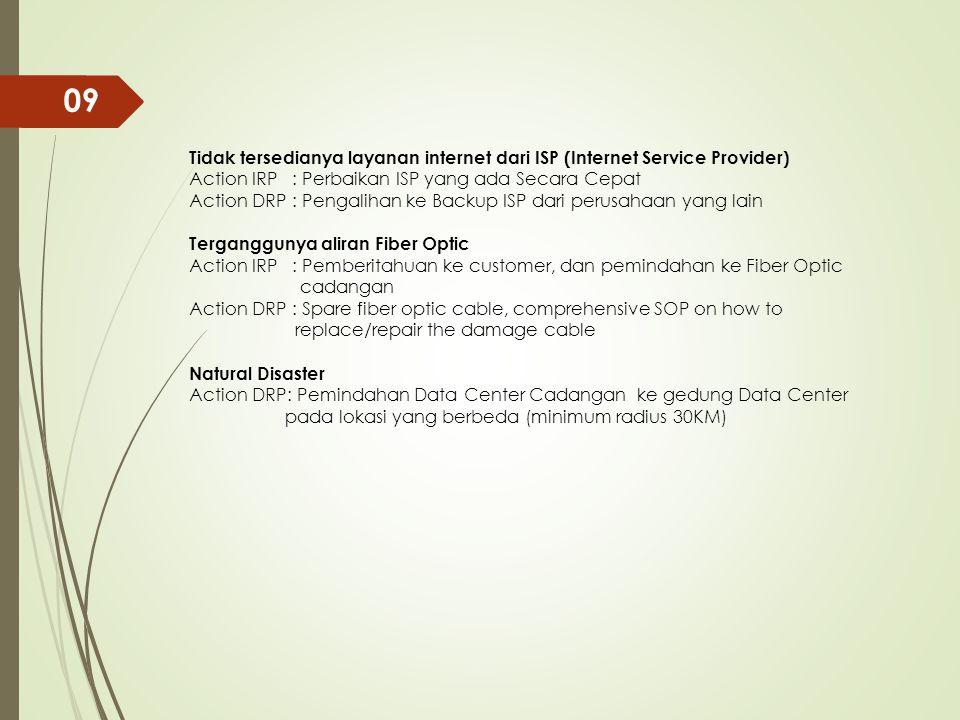 Tidak tersedianya layanan internet dari ISP (Internet Service Provider) Action IRP : Perbaikan ISP yang ada Secara Cepat Action DRP : Pengalihan ke Ba