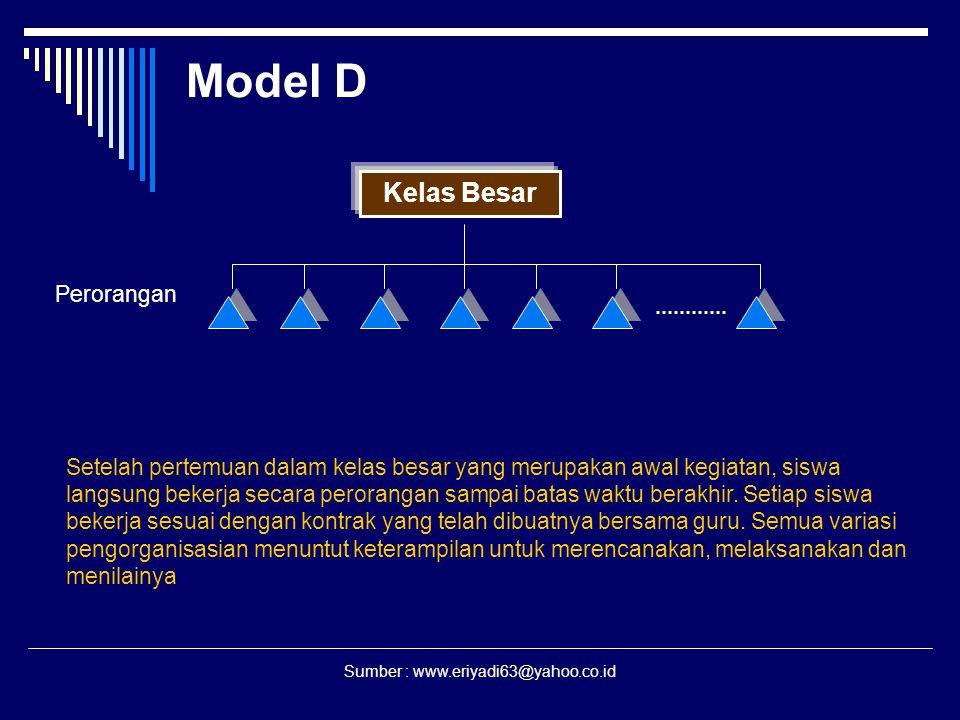 Sumber : www.eriyadi63@yahoo.co.id Model D Kelas Besar Perorangan Setelah pertemuan dalam kelas besar yang merupakan awal kegiatan, siswa langsung bek