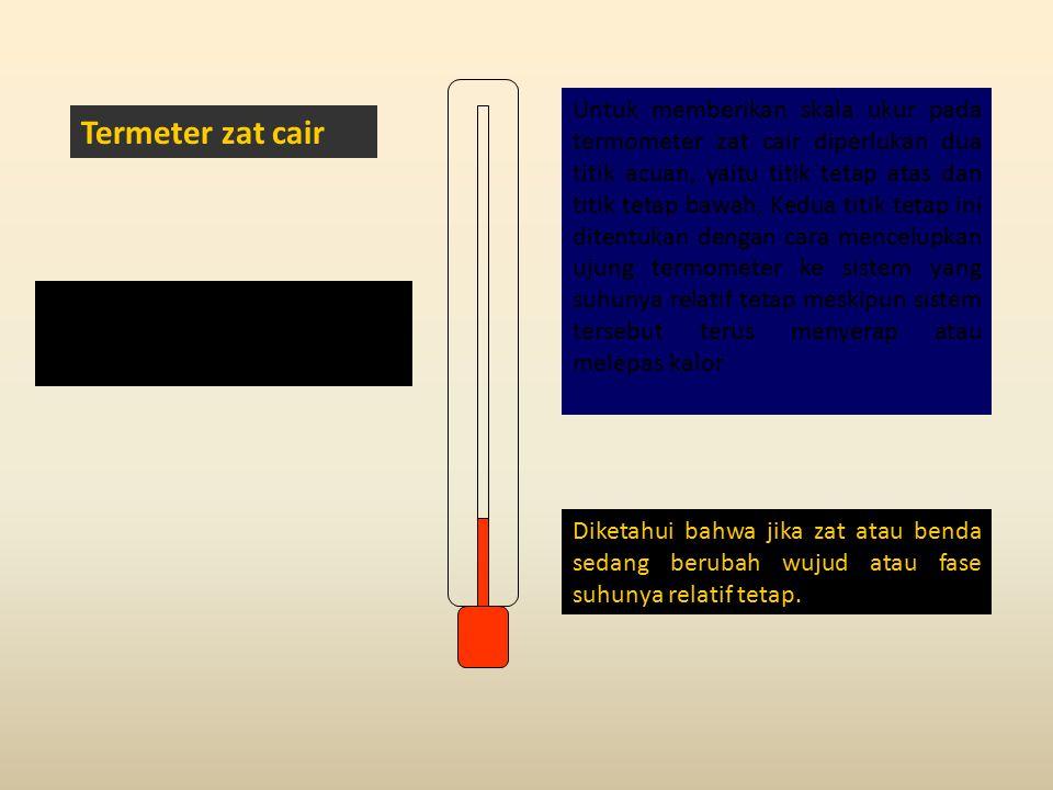 Termeter zat cair Sebagai suatu alat ukur, maka termometer harus dilengkapi dengan skala pengukuran.