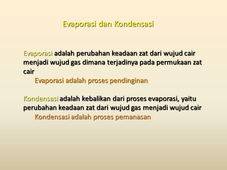 Evaporasi dan Kondensasi Evaporasi adalah perubahan keadaan zat dari wujud cair menjadi wujud gas dimana terjadinya pada permukaan zat cair Evaporasi adalah proses pendinginan Kondensasi adalah kebalikan dari proses evaporasi, yaitu perubahan keadaan zat dari wujud gas menjadi wujud cair Kondensasi adalah proses pemanasan