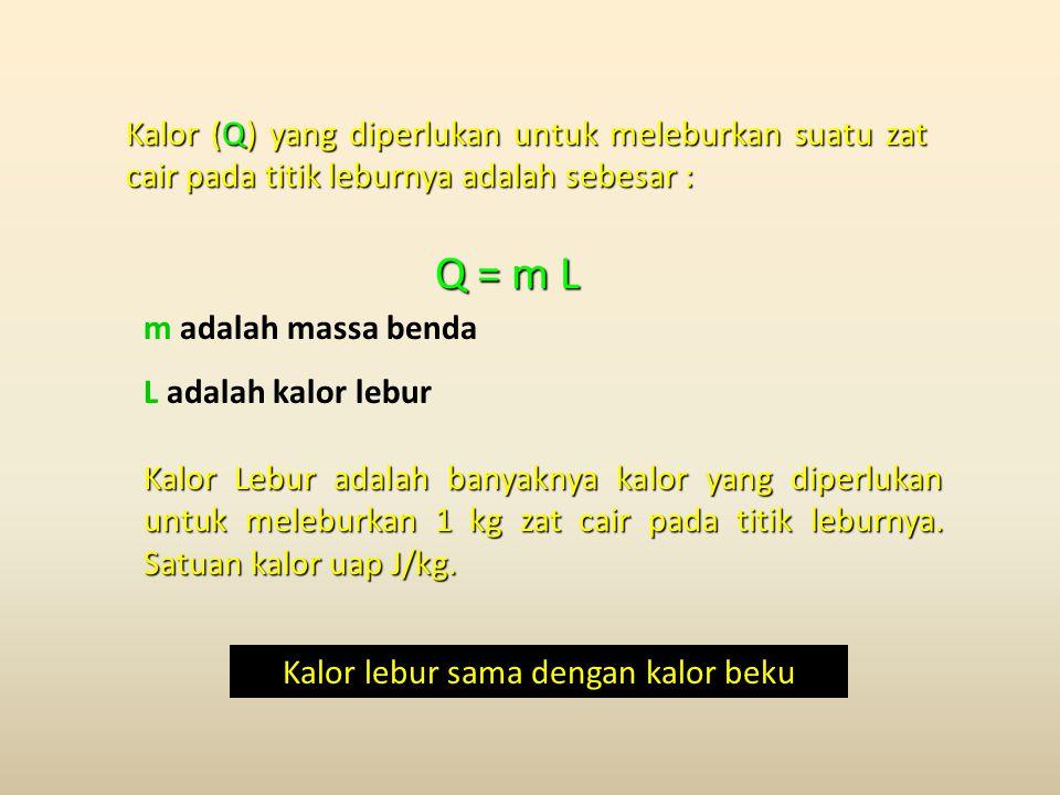 Q = m L Q = m L m adalah massa benda L adalah kalor lebur Kalor (Q) yang diperlukan untuk meleburkan suatu zat cair pada titik leburnya adalah sebesar : Kalor Lebur adalah banyaknya kalor yang diperlukan untuk meleburkan 1 kg zat cair pada titik leburnya.