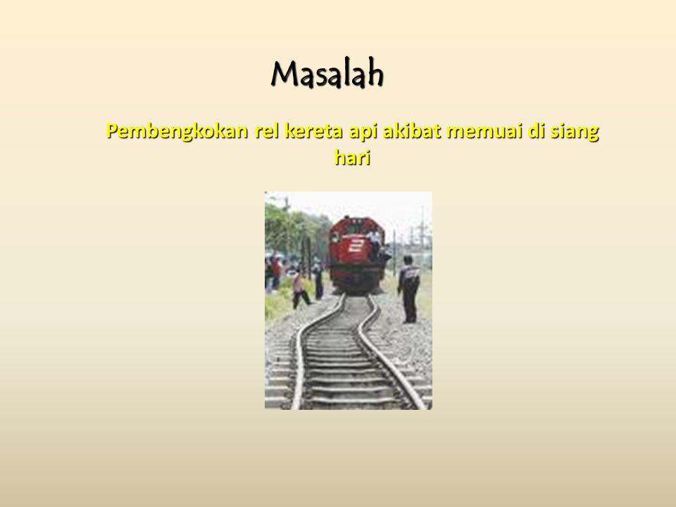 Pembengkokan rel kereta api akibat memuai di siang hari Masalah